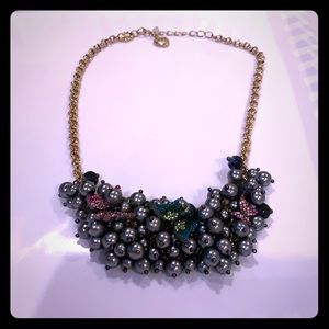 Betsey Johnson Butterfly Pearl Cluster Necklace